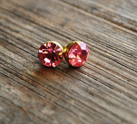 Vintage Pink Rhinestone Pierced Stud Earrings - Vintage Assemblage