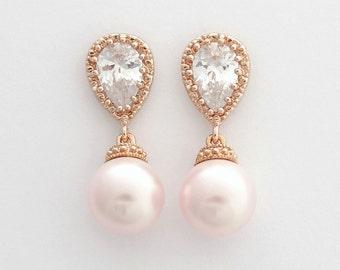 ROSE GOLD Wedding Earrings Pink Pearl Bridal Earrings Cubic Zirconia Swarovski Rosaline Pink Pearls Wedding Jewelry