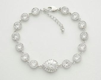 Wedding Bridal Bracelet Wedding Jewelry Bridal Bracelet Crystal Clear Cubic Zirconia Teardrop Bracelet Silver, Emma