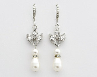 Pearl Drop Bridal Earrings, Wedding Jewelry, Pearl Dangle Wedding Earrings, Swarovski Pearls, Rose Gold, Gold Wedding Earrings, Amity
