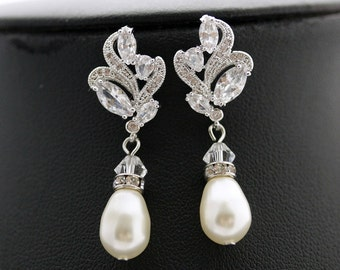 Bridal Pearl Jewelry Pearl Bridal Earrings Wedding Pearl Earrings Crystal Clear Cubic Zirconia Earrings Wedding Jewelry, Wavy