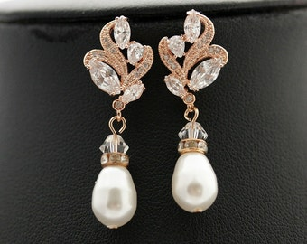 Rose Gold Wedding Earrings Pearl Bridal Jewelry Cubic Zirconia Pink Gold Bridal Earrings Wedding Jewelry Rose Gold Pearl Earrings, Dara