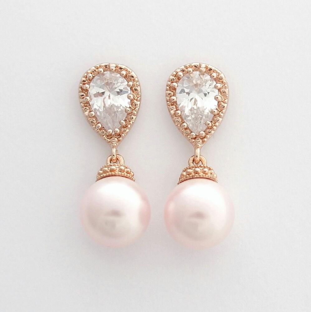 rose gold wedding earrings pink pearl bridal by poetryjewelry. Black Bedroom Furniture Sets. Home Design Ideas