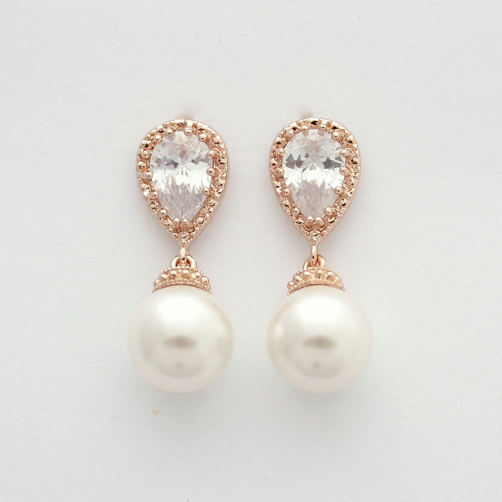 rose gold bridal earrings pearl drop wedding earrings clip. Black Bedroom Furniture Sets. Home Design Ideas