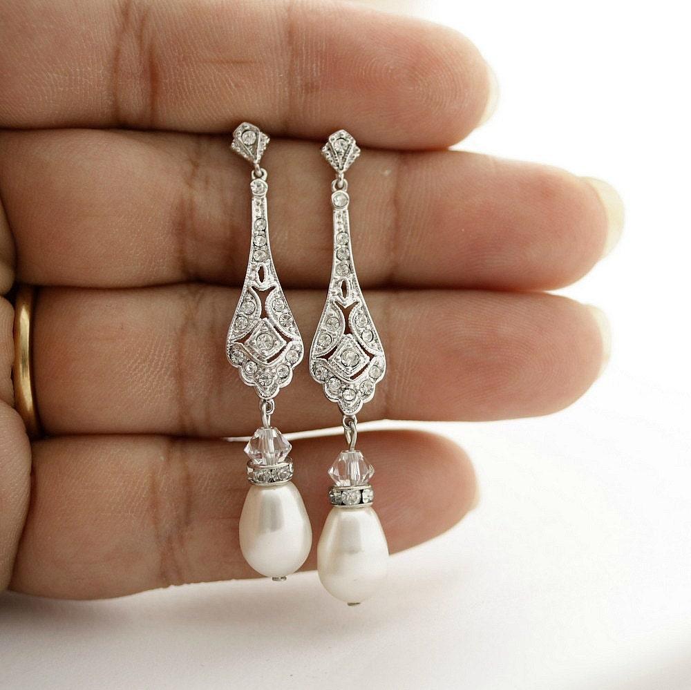 Vintage Style Earrings: Wedding Earrings Vintage Style Crystal Bridal Earrings