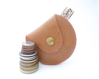 Leather Coin Purse / The Mini Gypsy Vintage / Caramel Leather and Pink Vintage Fabric