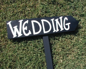 Rustic Black White Wood Wedding Sign on Stake Western All Caps