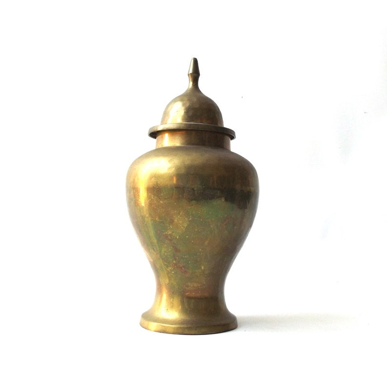 Vintage 1950 S Brass Urn Large Vase Lid Metal Mid Century