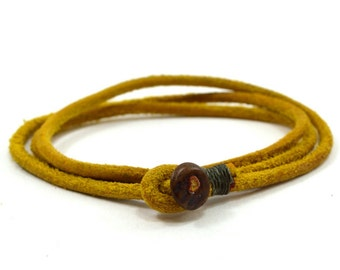 Mens yellow triple wrap leather bracelet