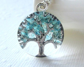 Aquamarine Necklace, Tree of Life, Tree of Life Jewelry, March Birthstone Color, Aquamarine Tree Necklace