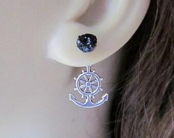 Front Back Earrings Ear Jacket Earrings Silver Black Studs Ships Wheel Anchor Jewelry Reverse Earrings