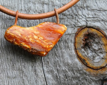 Raw Stone Pendant Mens Necklace Leather Rustic Tribal Jewelry White Orange Amber Rough Stone Huge Butterscotch Gift for him Dude Dad Father