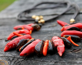 Moroccan Tribal Necklace / Red Hot Chili Peppers / Shark Tooth Raw Coral / Island Style Hawaii Jewelry / Tusk Necklace / Boho gift for her