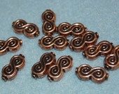 Shop Closing..40% off..Copper Beads, Infinity Shaped Design, 17mm x 8mm x 4mm, Bright Antiqued Copper, 6 Pieces, B6-1