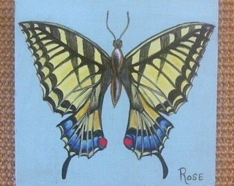 Swallowtail Butterfly on Reclaimed Wood Plaque Hand Painted Wall Hanging