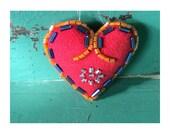 Valentines Gift - Valentines Heart - Valentines - Heart Charm - Heart Ornament - Beaded Heart - Orange, Periwinkle Blue, Silver-Blue Beads