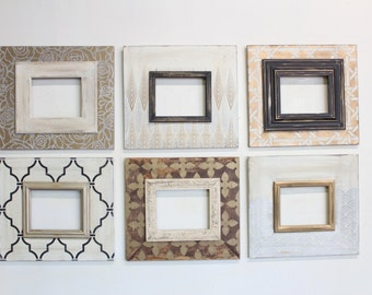 Set of 6- 8x10 Metallic Distressed Mod Gallery Wall Frames