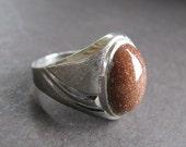 Vintage Art Deco Sterling Mans Ring Goldstone 40s Vargas Mfg. Co. 9.5 size