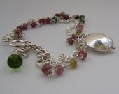 Tourmaline and Silver Chain Bracelet