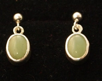 Sterling Silver and Green Aventurin  Drop Earrings