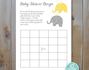 Elephant Baby Shower Bingo Game  Cards / Yellow and Grey / Instant Download / PRINTABLE /  9355