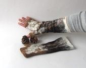 Hand Felted Mittens, felt fingerless gloves,  Brown Beige  Cozy mittens, winter Gloves, wool arm warmer