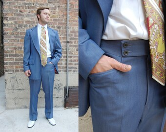 Sz 42-44 Vintage Blue Mens Suit - Made in Italy