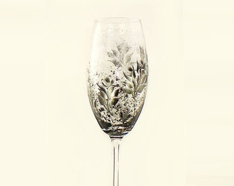 Hand Painted Champagne Flutes CRYSTAL - Black and Silver Roses Set of 4 - Personalized 25th Wedding Anniversary Wedding Toasting Glasses