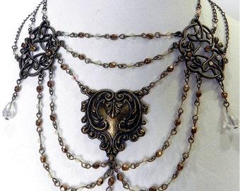 Necklace Brass Neo-Victorian Metals Golden Garden Brass necklace with topaz crystals