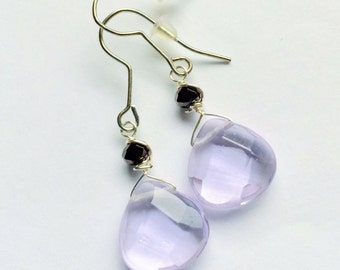 Wire wrapped earrings, faceted glass earrings, alexandrite dangle earrings,  june birthstone, silver drop earrings