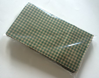 20 Green gingham check paper bags