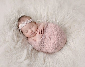 Newborn baby light pink 3d chiffon butterfly floral headband photo prop READY TO SHIP