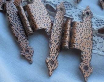 Vintage Copper Hammered Hinges