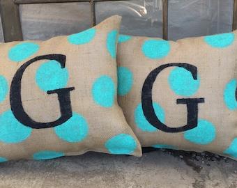 Hand painted polkadits with black initial burlap pillow Monogram Pillow