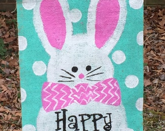 Happy Easter Bunny Rabbit Burlap Yard Flag Spring Garden Outdoor Decor pick your ears and bow tie color