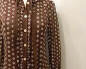 vintage.  60s Chocolate Brown Polka Dot Cotton Dress // M