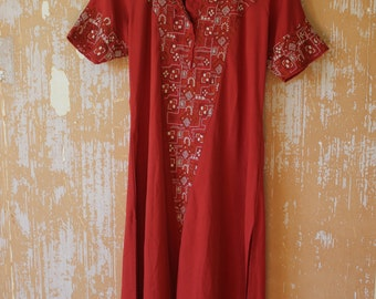 Red Indian Tunic • Red Flowy Tunic • Bohemian Tunic Top • Vintage Tunic  • Free Size