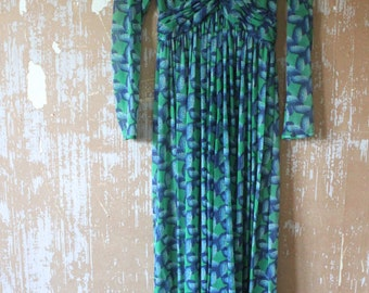 vintage. 60s Sheer Blue and Green Rope Print Maxi Dress // XS S