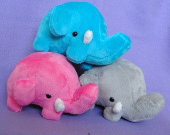 Elephant Plushie CHOOSE YOUR COLOR - Made to Order