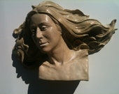 Custom Portrait Bust Wall Sculpture, Made to Order Ceramic Figure Art Face