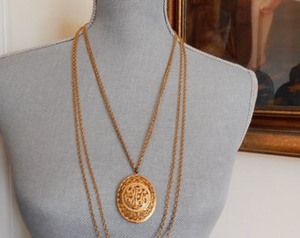 Multi Chain Locket Necklace 1970s Victorian Revival Gold Tone Filigree Front Checker Patterned Back Stow Personal Photos or Love Notes