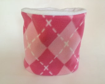 SALE! Argyle Fleece Neck Warmer / Neck Gaiter / Cowl Scarf - Pink White Argyle - Kids or Adult Sizes