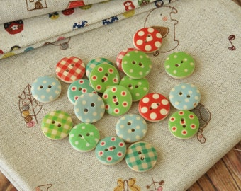 assorted mix colors Polka Dots & Plaid Wooden Round Buttons 20pc Set