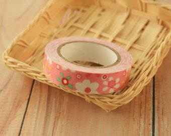 pastel pink Flowers fabric deco tape