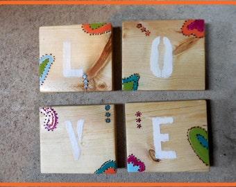 Coasters, wood, painted