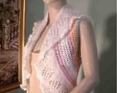 Sale - LACY BOLERO/VEST - Wearable Fiber Art, Chic & Feminine, World Famous Orenburg Lace Wool, Italian Top Quality Baby Merino