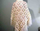 Sale - TRIANGULAR SHAWL/WRAP - Extra Large, Stylish Ivory Color, Gorgeous Crochet Pattern, Top Quality Mountain Goat Wool