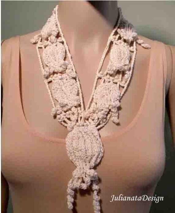 IRISH LACE NECKLACE - Wearable Fiber Art Jewelry, Timeless & Elegant, Freeform Tecnique, Fine Thread