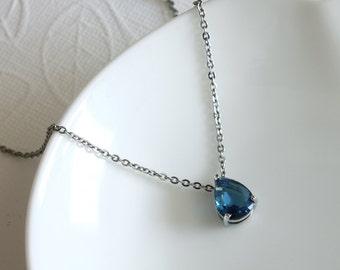 Blue Crystal Glass Pendant - Teardrop Pendant - Pendant on Silver Chain - Simple Pendant - Everyday Pendant - Bling Pendant - Gift