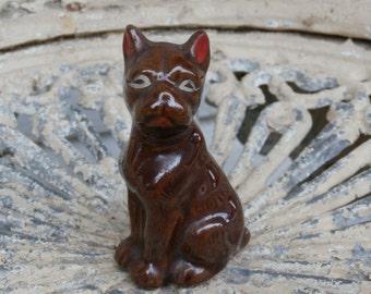 Vintage Brown Boxer Dog Figurine, Japan Red Ware or Redware Figure